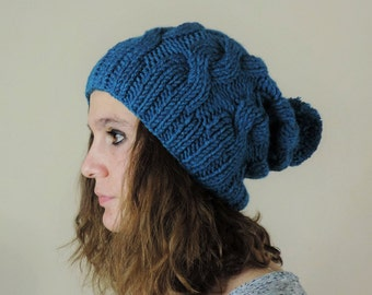 Teal (or Choose Color) Hand Knitted Beanie, Slouchy Beanie, Cable Knit Hat, Pom Pom Beanie, Mens Wool Hat, Womens Cabled Beanie