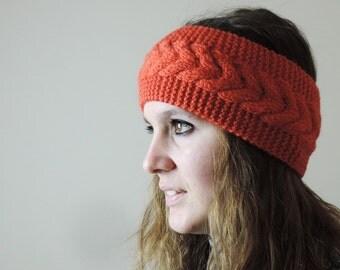 Orange Knit Headband, Cable Knit Headband, Ear Warmer, Winter Hairband, Orange Knitted Headband, Chunky Headband