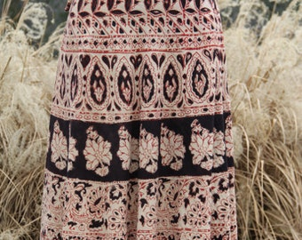 vintage indian cotton wrap skirt with floral print