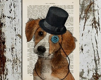 Little Dog With Top Hat and Monocle, Dictionary Page Book Art Print