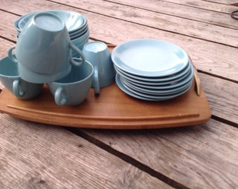 All 21 pieces of blue Melmac, Melmac dishes blue dishes