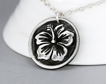 Hibiscus Flower Necklace, Sterling Silver Hawaiian Necklace,Silver Hibiscus Flower Pendant, Silver Flower Charm, Beach Jewelry, Gift for Her