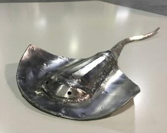 Metal Sculpture, Welded Sculpture, Metal Stingray, Stingray Sculpture, Handmade Stingray, Metal Art, Welded Stingray, Steel Stingray,