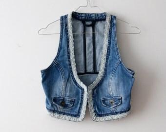 Vintage Boho Style Vest Women Cropped Vest Denim Jeans Vest Women Festival Vest Washed Out Vest Jeans Waistcoat Small Size Vest