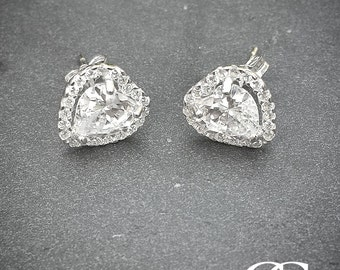 Solid 9ct White Gold Sparkling Heart Stud Earrings