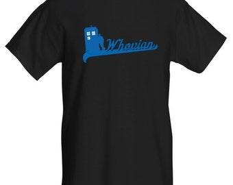Whovian TARDIS Men's T-Shirt. Black/Blue. All Sizes