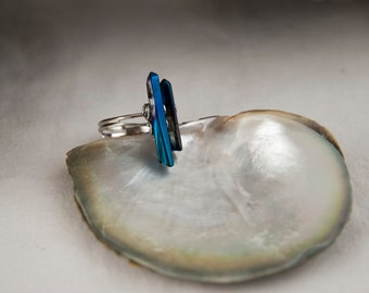 Deep blue ring, Titanium quartz ring, Blue crystal ring, Adjustable boho ring, Dark blue ring, Raw titanium quartz ring, For her