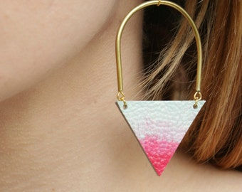Leather Earrings • Geometric Earrings • Triangle Earrings • Pink Earrings • Ombre Earrings • Long Earrings • Feminine Earrings • UK • London