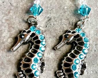 Nature Inspired Seahorse Earrings, Long Dangle Nautical Earrings, Whimsical Earrings, Statement Earrings, Beach Jewelry, Gifts For her