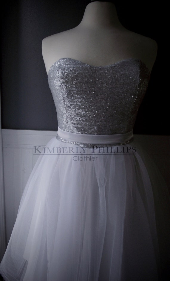 Short Tulle Wedding Gown, Bridesmaid Dress, Sequin Dress, Reception Dress, Strapless