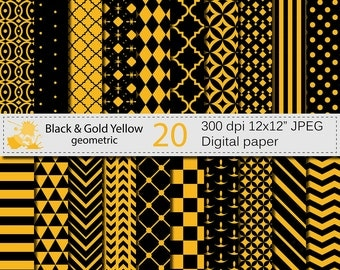 SALE 50% Black and Gold Yellow Geometric Digital Paper Set, Geometric Digital papers, Black and Gold Scrapbooking papers, Instant Download