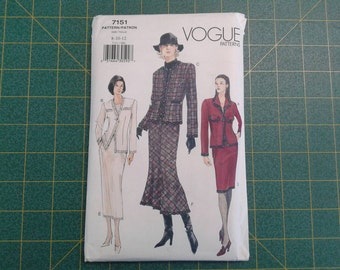 Jacket and Skirt Suit Misses Vogue 7175, sizes 8,10,12, average difficulty, 3 jacket and skirt variations, UNCUT