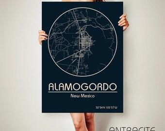 ALAMOGORDO New Mexico CANVAS Map Alamogordo New Mexico Poster City Map Alamogordo New Mexico Art Print Alamogordo