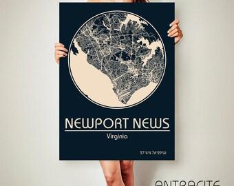NEWPORT NEWS Virginia CANVAS Map Newport News Virginia Poster City Map Newport News Virginia Art Print Newport News Virginia va ArchTravel