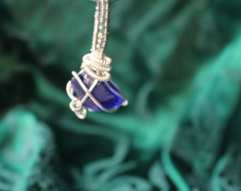 Handmade Blue Sea Glass Wire Wrapped Pendant Necklace