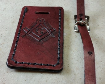 Masonic Luggage Tag, Leather, Square and Compasses