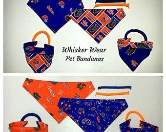 Florida football fabric , reversible custom pet bandana, No-tie, dog scarf, dog bandana, pet scarf, dog attire, gators, college football