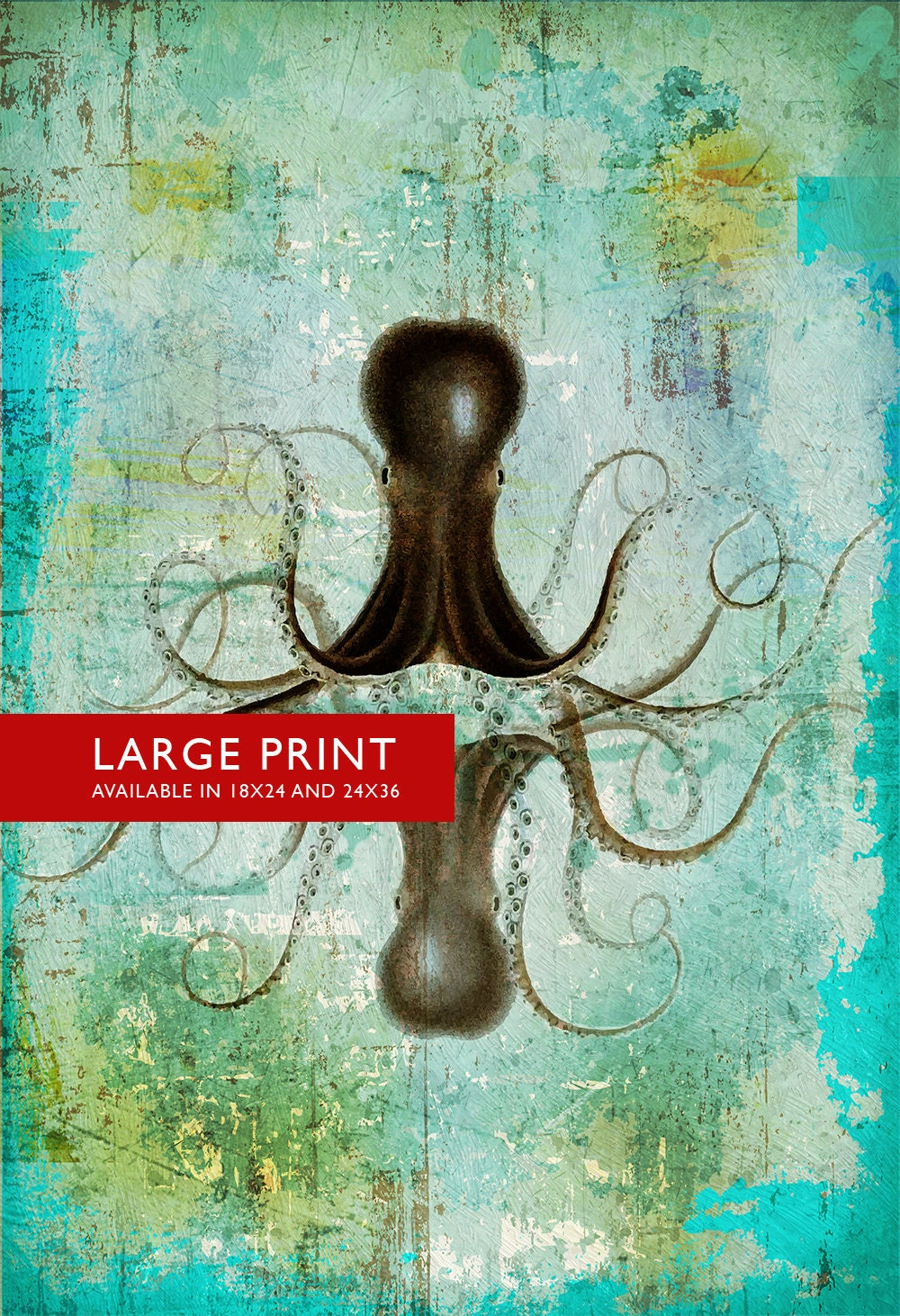 Octopus art print sea squid vintage nautical decor ocean wall for Vintage ocean decor