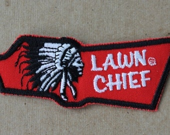 Vintage 70's Lawn Chief Patch Native American Indian Headress Sew On Patch NOS Deadstock