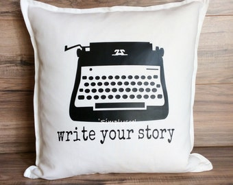 Write your story typewriter 20x20 pillow cover