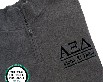 Alpha Xi Delta Quarter Zip Pullover,  Alpha Xi Delta cadet fleece pullover, Alpha Xi Delta Sorority Letters and name pullover, Greek Apparel