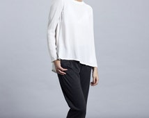 Oversized top, woman top open back,open back top,white shirt,wrap top,white wrap top,wrap back top,Long Sleeve Top,Sexy Top,Open