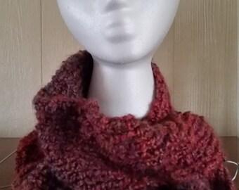 Dark Pink Multicolor Knit Infinity Scarf
