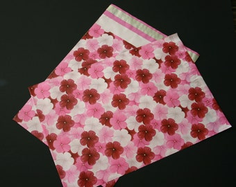 50 Designer Poly Mailers 10x13 Pink Red Hibiscus Flowers Envelopes Shipping Bags Spring Mother's Day