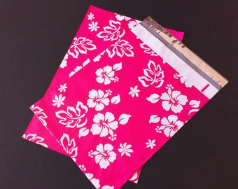 200 Designer Poly Mailers 10x13 Pink Aloha Hawaiian Hibiscus Flowers Envelopes Shipping Bags Spring Mother's Day
