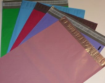 25 12x15.5 Poly Mailers  Raspberry Pastel Purple Pale Pink Blue Green 5 Each Self Sealing Envelopes Shipping Bags Spring Easter