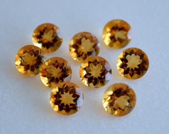 Citrine 7 MM Faceted Round, Golden Yellow Color, Fine Quality. Designer Gems. Sold by lot.