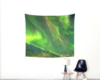 Northern Lights Wall Tapestry. GreenTapestry. Bohemian Tapestry. Wall Hanging Tapestry. Green Aurora.