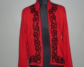 Vintage 1960's Angora / Lambswool Beaded Cardigan UK 10 - 12