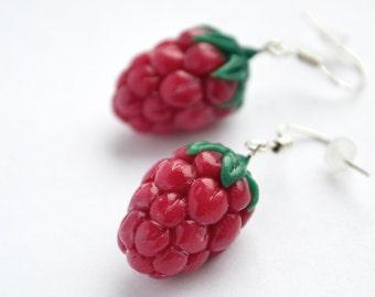 Berry Earrings, Fruit earrings, Raspberry Earrings, Cloudberry, Small Ruby Earrings, Raspberry jewelry, delicious earrings, polymer clay