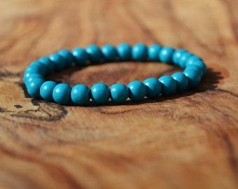 Aqua Wood - 6mm Wooden Bead Bracelet