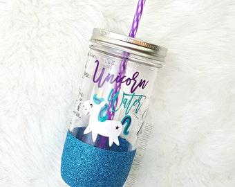 Unicorn Water // Glitter Mason Jar // Summer Cup // Unicorn Tumbler