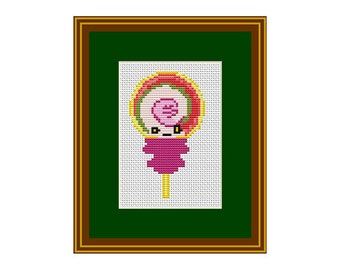 Lollipop Cross Stitch Pattern. Kawaii Counted Pattern. PDF Instant Download. Happy Candy.