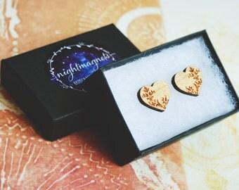 Wooden Heart shaped Stud Earrings