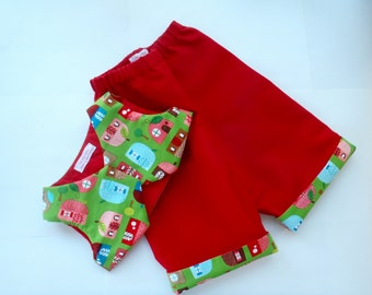 Baby boy pants and vest, baby girl pants and vest, pants, vest, 6-9 mos, cotton, lined, quilted, cozy, red, green, elastic waist