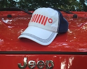 America JEEP Adjustable Hat: Blue Baseball Hat with red jeep grill detail