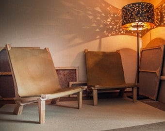 Custom lounge armchair, made by oak and leather
