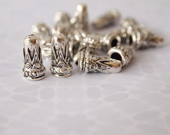 6 Bead Cap Cones Antique Silver Tone Embossed Pattern Size 14mm long