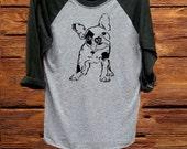 women shirt,women clothing,fashion shirt, unisex shirt,heather grey/black, workout shirt, women tee,tee,top,french bulldog