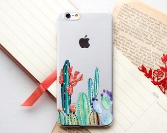 Cactus Clear iPhone 7 Case Galaxy S6 Edge Plus Case Cute iPhone 7 Plus Case Galaxy S8 mini Case iPhone 6 Case Clear iPhone 6 plus PC_055