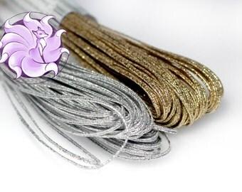 20 meters 2mm soutache cord very hard Bright metallic soutache