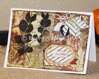 "Greeting Card ORIGINAL ""Autumn"" Mixed Media Collage"
