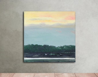 Original painting Dusk Oil painting on canvas abstract landscape