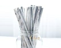 25pcs Mix Silver Paper Straws - Silver theme Party decor - Silver straw - Party decor - Birthday decor - paper straws -  cheersnco