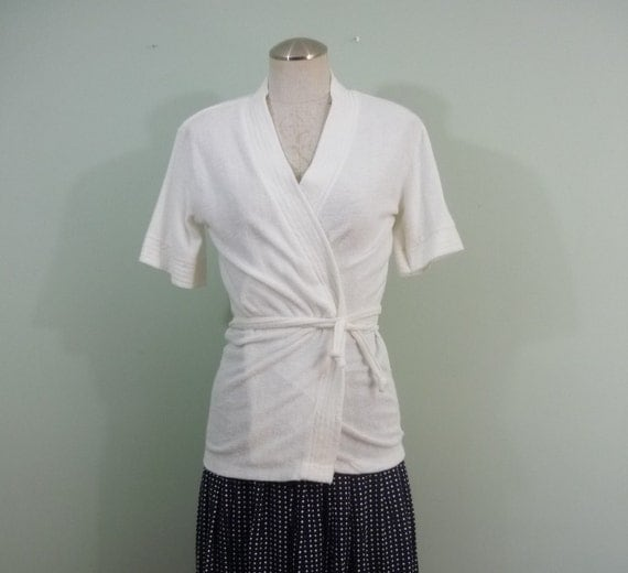 Bright White Terrycloth Top / Seventies Soft Wrap Cover Up / 1970s Short Sleeve Wrap T-shirt / Modern Small S to Medium M