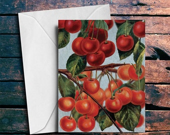 Blank Card Cherries Fine Art Blank Inside on Paper Canvas 5x7 Greeting Card with Envelope